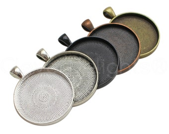 """10 Pk - 30mm (1 3/16"""") Round Trays - Mix and Match - Vintage Style Pendant Blanks - Silver Bronze Copper Black - 30 mm 1 3/16 Inch Tray"""