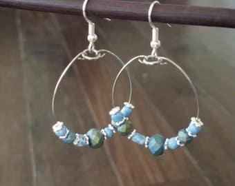 Pretty Blue Green Hoop Earrings