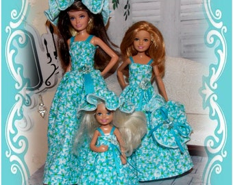Gowns and Hats to fit Little Sister Dolls. Blue flowers of spring! Girl Birthday Gift.  (Skipper, Chelsea & Stacie dolls are not included)