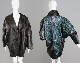 Vintage 80s Womens Leather Jacket Womens Cocoon Coat Hand Painted Extreme Batwing Embossed Leather Avant Garde Fashion 1980s Rock Jacket