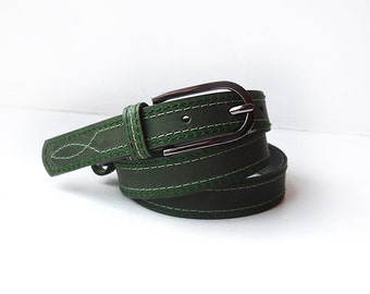 Dark green leather belt, leather belt with two colour threads stitching. ALL SIZES