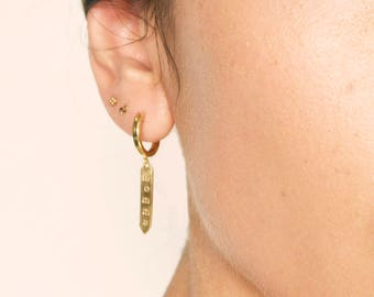Gold Tag Earring