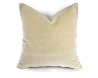 Pollack Sedan Plush in the color Parchment - Light Tan - Beige Velvet Pillow Cover
