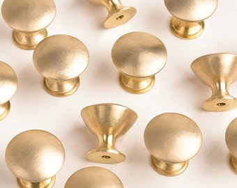 Satin Brass Cabinet Knob Handle Drawer Pull with Screw