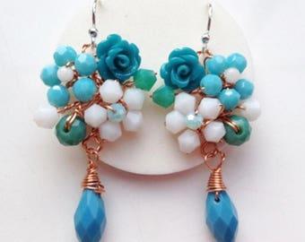 Turquoise blue earrings , blue jewellery , turquoise jewellery , something blue, rose earrings ,