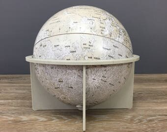 "Vintage Replogle Moon Globe, 6"" Lunar Tin Globe, Collectible Retro Home and Office Decor, Space Astronomy Science Educational Folk Lore Gift"