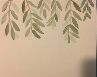 Watercolor Olive leaves- Personalized