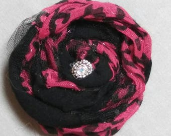 Shappy Chic Rosette - Hot Pink Animal Print,Tulle and Swarovski Crystal