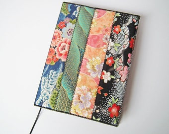 A5 Notebook Cover & Notebook, Journal Cover, Lined Notebook, Fabric Patchwork Cover, Japanese Cotton Fabric, UK Seller