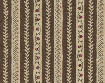 Windham Quilt Fabric - Williamsburg Sampler - Brown Stripe - By the Yard Listing