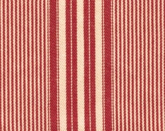 "Moda Classics - Red Cream Twill Stripe - 17"" x 45"""