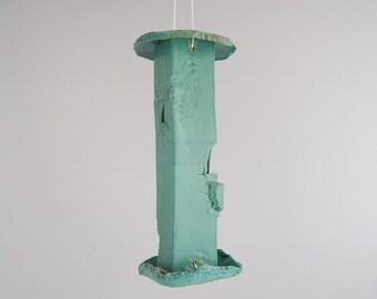 EZ clean bird feeder,stoneware with green glaze, for thistle seed