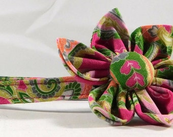 Cat Collar or Kitten Collar with Flower or Bow Tie - Fushia Paisley