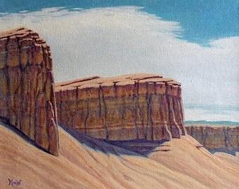 Rock art - 'Reef Afternoon' - Southwestern decor - impressionist - western decor - turquoise - Utah - original landscape - desert painting