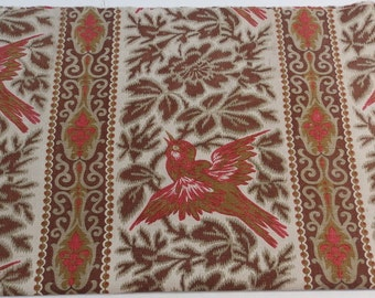 French vintage fabric with a bird design