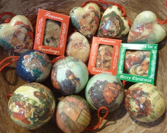 14 Victorian Christmas Ornaments Vintage Tree Decor Lot Decoupage Santa Cherub Angel (#119)