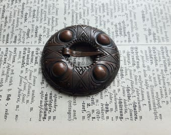 Vintage ethnic style antique copper metal pin brooch, collectibles Tribal  ouch