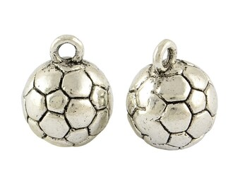 3D Silver Soccer Ball Charms
