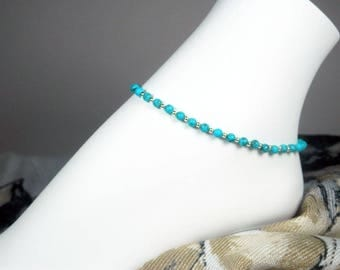 """Turquoise Anklet - Blue and Silver Bracelet - Turquoise Bead Ankle Bracelet - Girls Size - Plus Size - 7"""", 8"""", 9"""", 10"""", 11"""", 12"""", 13"""""""