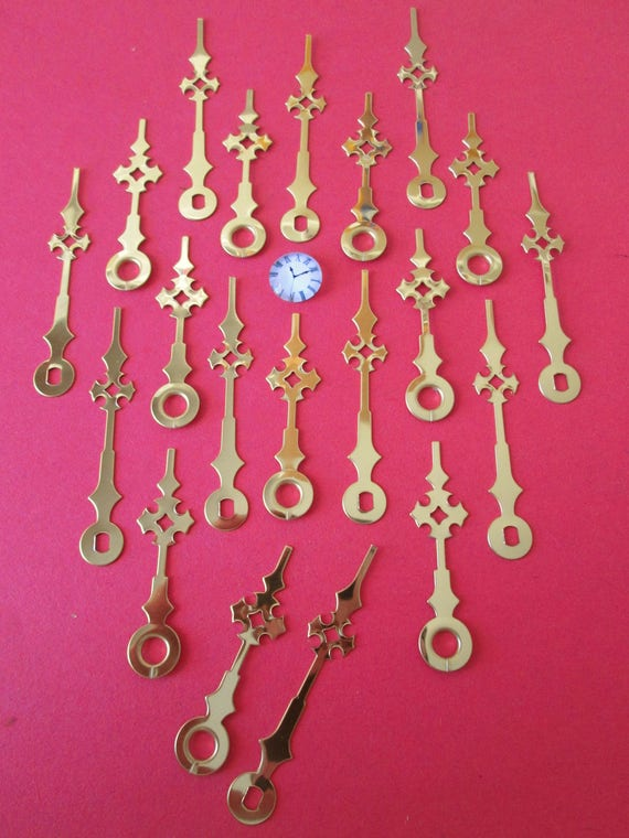 "10 Pairs of New Brass Plated Maltese Style Clock Hands for your Clock Projects, Jewelry Making, Steampunk Art and Etc...1 3/4"" and 2 1/4"""