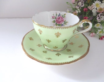 Aynsley vintage 1930's green and gold teacup and saucer