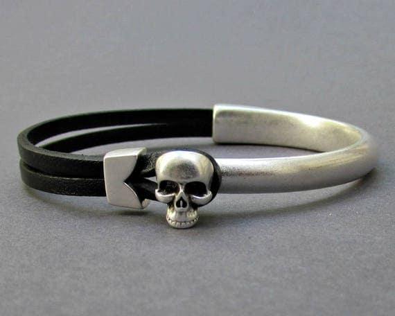Silver Skull Bracelet Cuff, Mens Leather Bracelet, Antique Silver Plated Bracelet Cuff, Customized On Your Wrist
