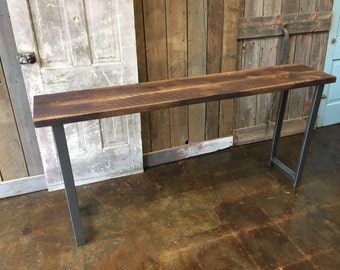 """Reclaimed Wood Console Table / Industrial H-Shaped Steel Legs / 16"""" Depth"""