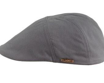 Lightweight Men's Flat Cap Pure Emerizing Cotton (peach skin effect) - ash gray