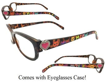Women's Tortoise 1.75 Strength Hand Painted Cat Themed Reading Glasses with Heart Detail. Comes with Eyeglasses Case!
