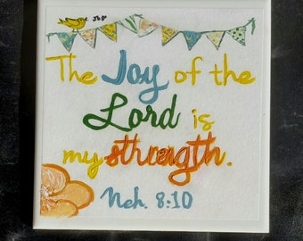 Christian Wall Art, Hand Painted Inspirational Wall Art, 'The Joy of The Lord is My Strength' - Sale