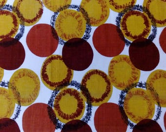 1960s Vintage gold and rust circles cotton Barkcoth fabric