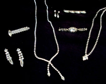 MARQUISE 7pc  Vintage Rhinestone Austrian Crystal Jewelry Lot Necklace Earrings Pin #223