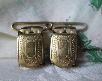 Vintage Suspender Clips, Brass Colored Detailed Clips