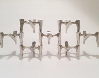 Birds Flight - Exceptional Sculptural Modernist Candle Holders - Set of 7 Stackable 1960s - 1970s Modular Candle Sticks - Hammonia Motard
