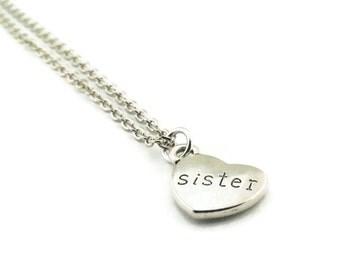 Sister Necklace, Sister Heart Necklace, Heart Necklace