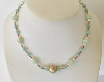 Amazonite and freshwater pearls necklace with sterling silver