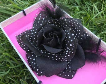 Tulle and Sateen black Flower  Brooch
