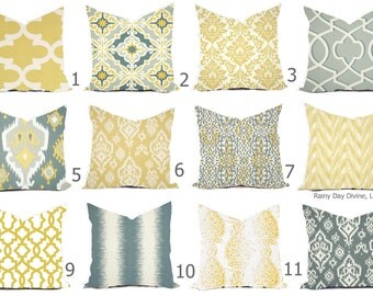 Pillows Cover Custom - Butter Yellow Buttercup Grey White Ikat Tribal Modern - 16x16, 18x18