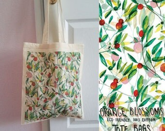 Orange Blossoms 100% Cotton Tote Bag - Design on both Sides - Eco Friendly - Reusable