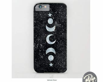 Speckled Celestial iPhone Case - Moon and Stars - Silver - Gold - Rose Gold