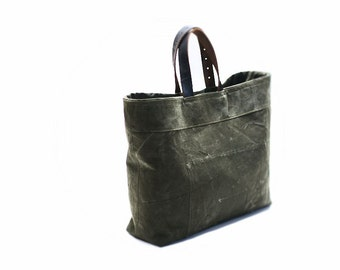 Canvas handbag, recycled tote bag, canvas vintage bag, handbag with leather handles