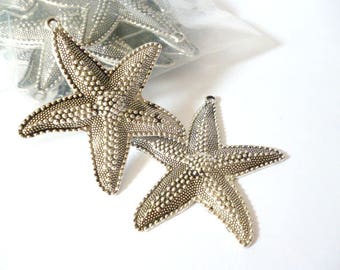 Large Silver Tone Charm Pendant_ PP54208647234/ CHARMS_ Silver Tone _starfish of 62x67 mm pack 3 pcs