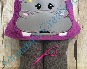 "Hippo Girl Applique Hooded Bath Towel, Beach Towel 30"" x 54"""