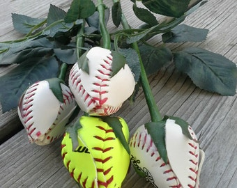 Baseball/Softball long stem Rose, Single Sports Rose, Baseball/Softball Rose, Artificial Baseball Rose. Made from Real Baseball/Softballs