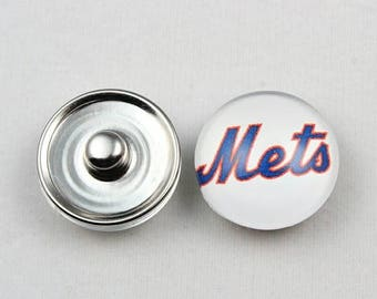 New York Mets Inspired Snap Button Charm-Qty:1- Charm Attachment Included