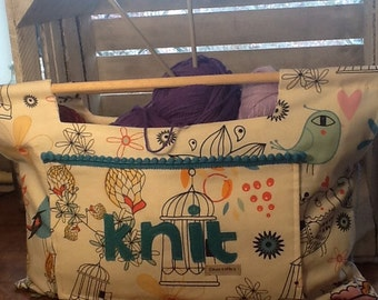 Knitting bag, craft bag, sewing bag, knitting tote.