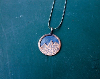 Oxidized Sterling Silver Copper Hammered Mixed Metals Mountain Pendant Necklace