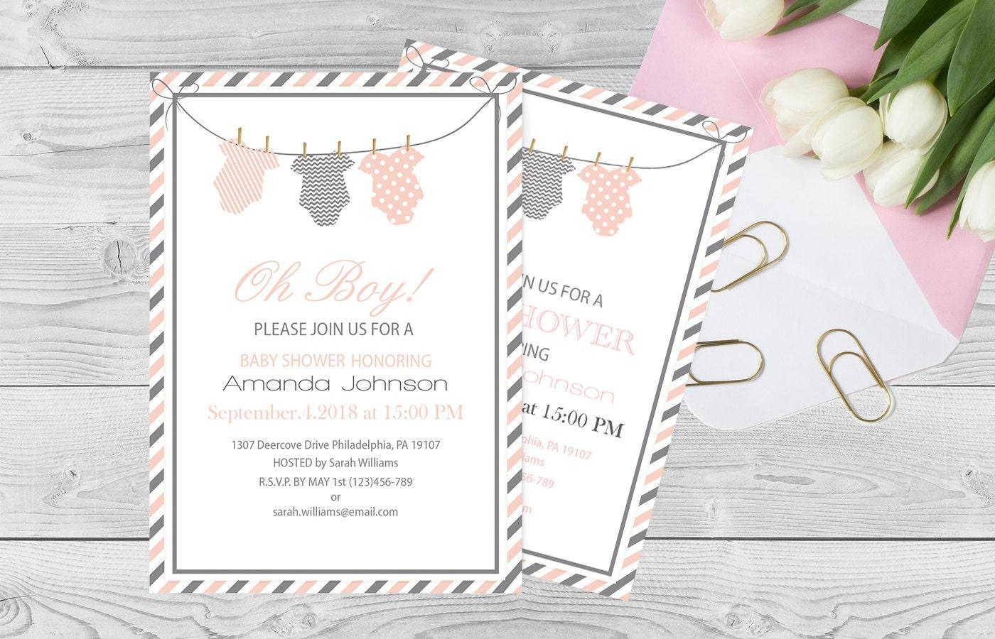 onesie baby shower invitation template pink  u0026 grey onesie