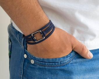 Men's Bracelet - Men's Cuff Bracelet - Men's Faux Leather Bracelet - Men's Jewelry - Men's Gift - Boyfriend Gift - Husband Gift - Male