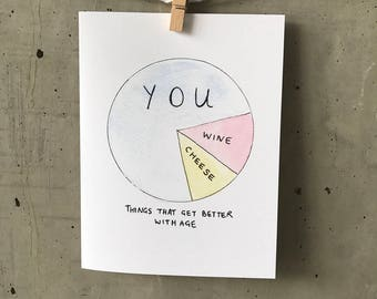 Funny birthday card //Things better with age // Pie chart birthday card